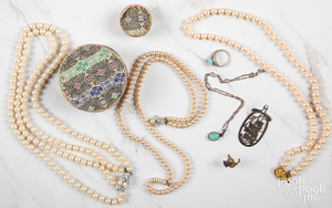 Group of costume and sterling silver jewelry