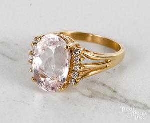 14K yellow gold kunzite diamond ring