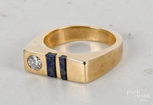 Diamond and lapis lazuli ring