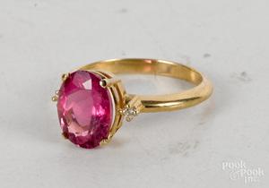 14K yellow gold pink tourmaline diamond ring
