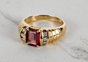 14K yellow gold garnet diamond ring