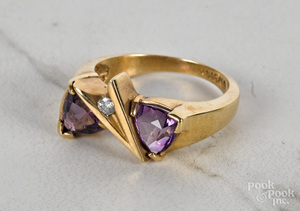 14K yellow gold amethyst diamond ring