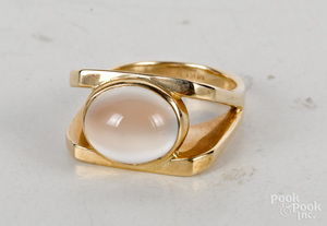 14K yellow gold moonstone cabochon ring