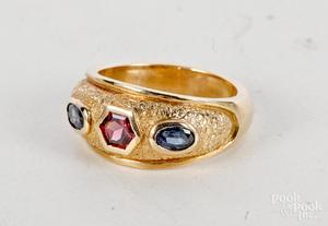 14K yellow gold garnet iolite ring
