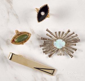 Two 10K yellow gold navette gemstone rings