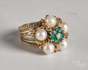 14K yellow gold pearl and emerald flower ring