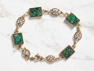 14K yellow gold jade and diamond link bracelet