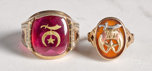 Two 10K yellow gold Shriners rings