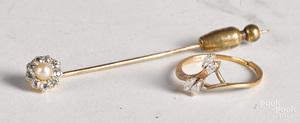 18K yellow gold diamond pearl stick pin