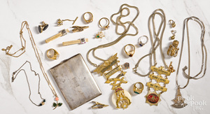Group of gold colored costume jewelry