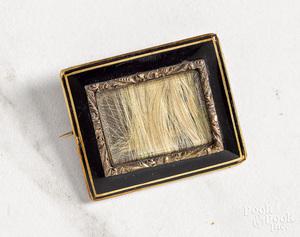 14K gold Victorian hairwork mourning pin