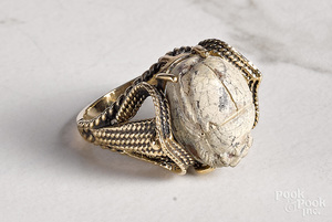 14K yellow gold Egyptian faience scarab ring