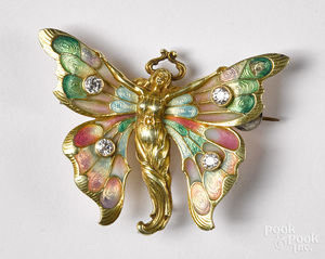 14K gold, diamond and enamel winged nymph brooch