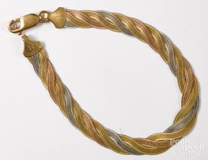 Three color 14K gold bracelet
