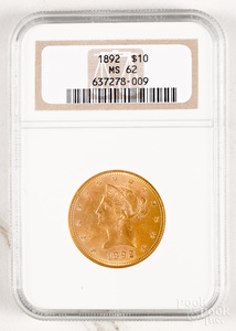 1892 Liberty Head ten dollar gold coin