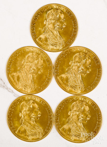 Five Austria 1915 four Ducat gold coins