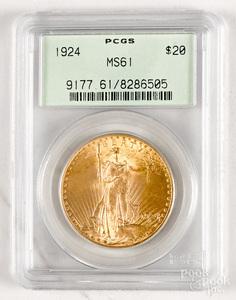 1924 St. Gaudens twenty dollar gold coin