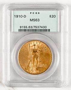 1910-D St. Gaudens twenty dollar gold coin