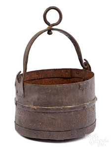 Revolutionary war hand forged cannon sponge bucket