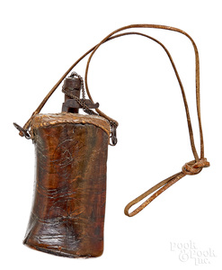 Early carved wood powder flask
