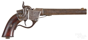 Scarce C. Sharps breech loading single shot pistol