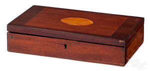 Fitted walnut pistol presentation box