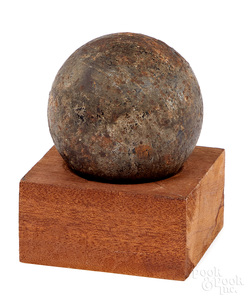 Civil War era six pound solid shot cannon ball