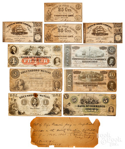 Group of Confederate Civil War money