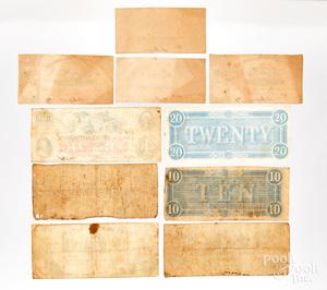 Group of Confederate Civil War money