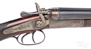 Belgian back action double barrel shotgun