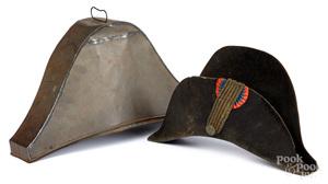 Napoleonic bicorne fur hat and case