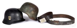 Two German M35 helmets, etc.