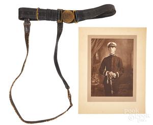 US Navy brass eagle belt buckle & leather belt, etc.
