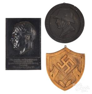 Cast iron German Deutschland Adolf Hitler plaque, etc.