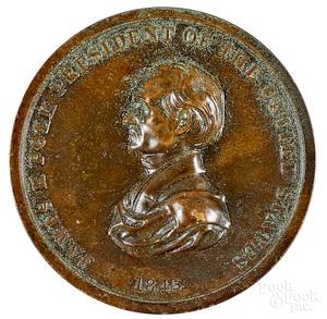 James Polk bronze Indian Peace Medal, dated 1845
