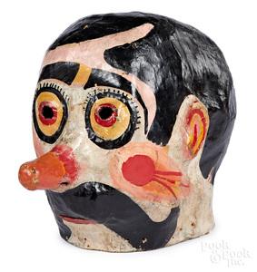 Painted papier-mâché parade head
