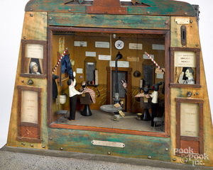 Unusual coin operated animated barber shop diorama