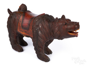 Carved and painted carousel bear