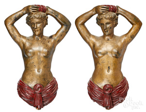 Pair of carved and painted carousel figureheads