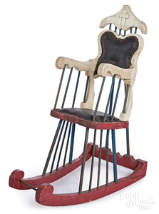 Amusement Park painted pine child's rocking chair