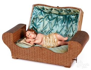 European musical automaton wax baby in sleigh bed