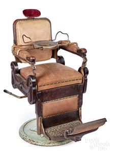 Louis Hanson carved oak barber chair