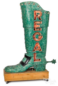 Regal figural boot neon trade sign