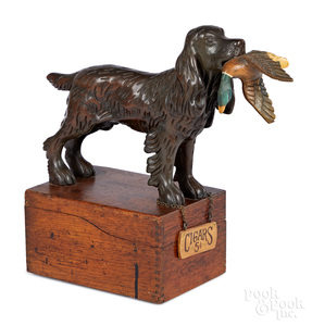 Spaniel holding duck cigar box
