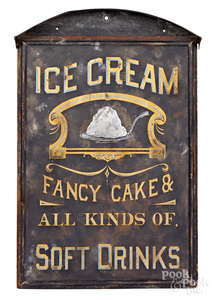 Painted wood and tin ice cream trade sign