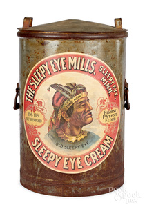 Sleepy Eye Mills advertising tin canister