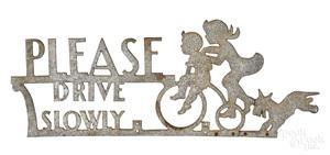 Cast aluminum Please Drive Slowly road sign