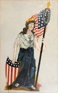 Large oil on canvas portrait of Lady Liberty