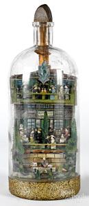 Carl Worner carved diorama in a bottle