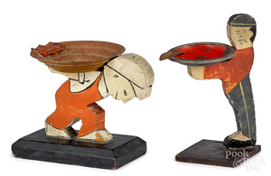 Two table top wood cutout tip stand ashtrays